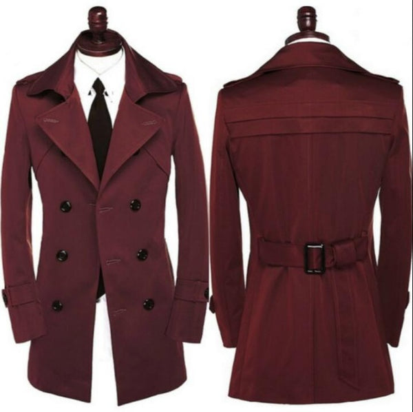 New designer slim sexy shore trench coat men overcoat long sleeve mens clothing business outerwear modern urban red