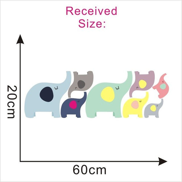 Circle Dots 3D Cartoon Elephant Wall Sticker Cute Animal Family Wall Decal DIY Art Mural For Kids Baby Room Home Decor