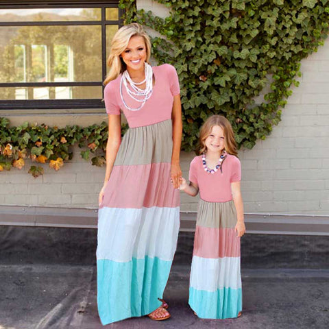 mother daughter dresses family matching clothes short sleeve patchwork striped elastic waist baby and mom summer dress