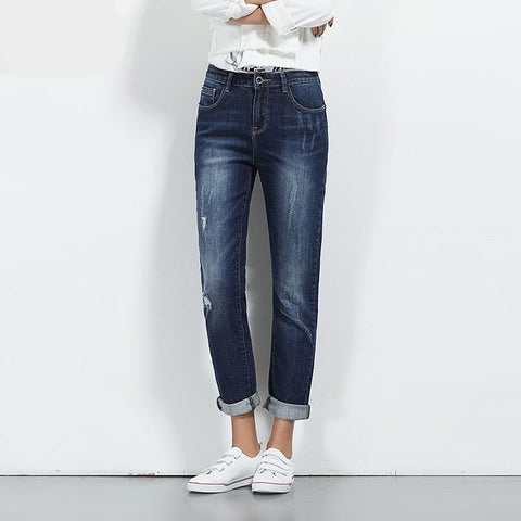 Spring Plus Size Ripped Bleach Moustache Effet Mid Waist Full Length Casual Skinny Straight Women Stretch Jeans