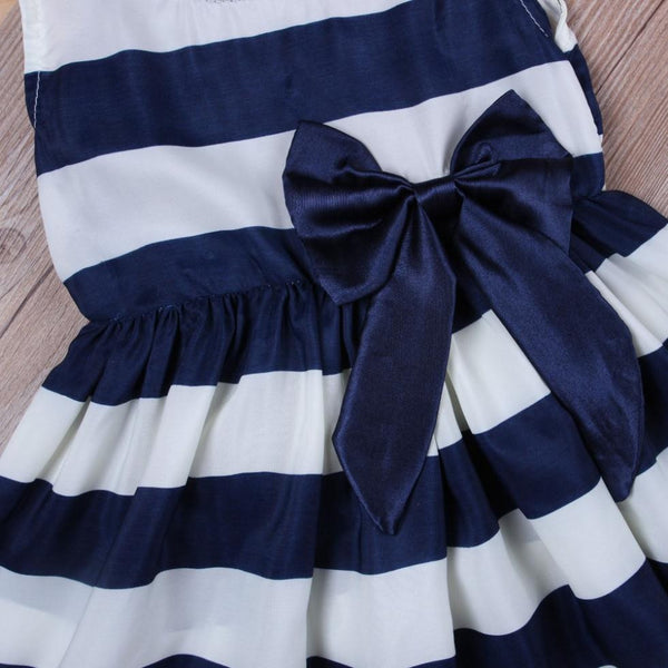 Summer Cute Baby Stripe Dress Princess Party Wedding Baby Girls Tutu Dresses Bow Sleeveless Newborn Infant Girl Clothing
