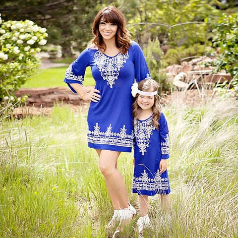 Mother daughter dresses family look matching outfits Bohemian 2 Color Lace Patchwork Beach Dress baby girl and mom clothing