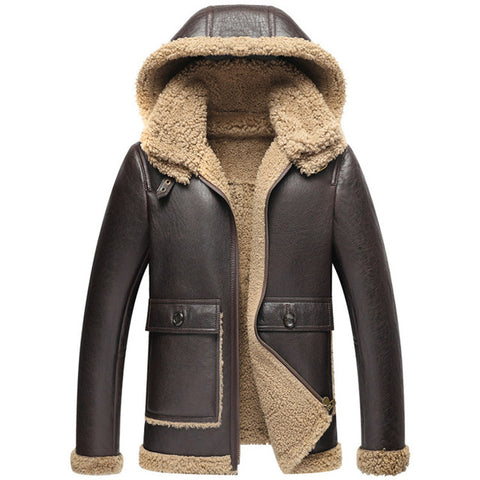 men's genuine sheepskin shearing fur coat with a hood male winter warm thick jacket wool liner brown xxxxl 4xl