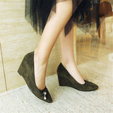 new spring autumn women pumps shallow pointed toe ladies shoes flock wedges shoes high heels shoes big size