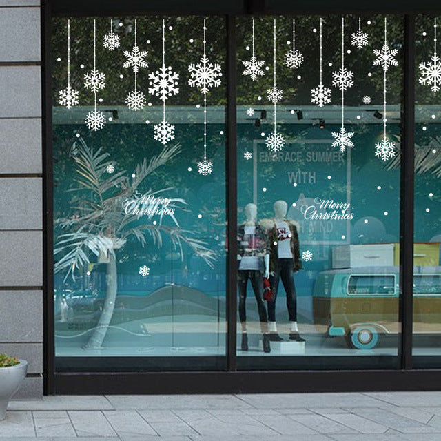 Christmas Window Decals.Diy White Snow Christmas Wall Stickers Window Glass Festival Decals Santa Murals New Year Christmas Decorations For Home Decor