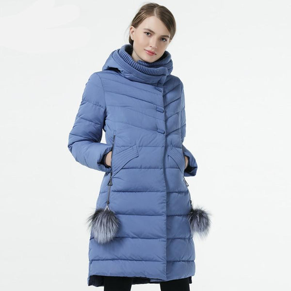 Winter Women Down Jacket Medium Length Female Thick Warm Hooded Down Parka Windproof Overcoat With Natural Fur Ball