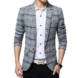 2018 New Arrival  Men Business Plaid blazer Casual  Stripes Blazers Men lattice Formal jacket Popular  Men Dress Suit Jacket