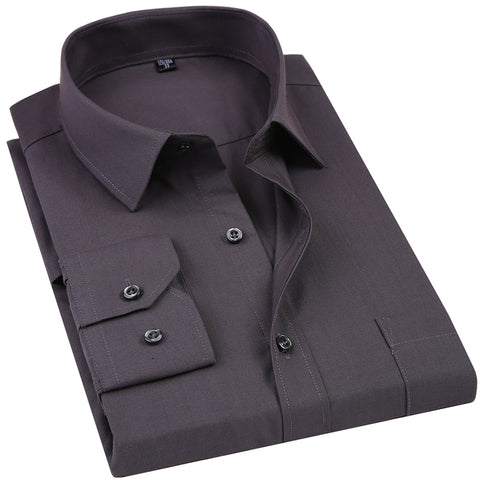 New Men's Dress Shirt Solid Color Plus Size Black White Blue Gray Chemise Homme Male Business Casual Long Sleeved Shirt