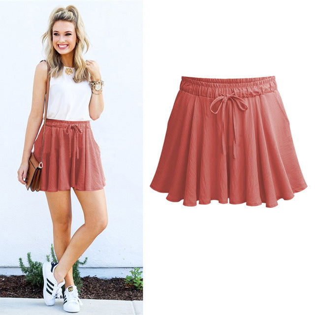 Summer Thin Shorts for Female Plus Size M-6XL  Elastic Waist Shorts Casual Wide Leg Shorts 4 Color Shorts Skirts for Lady PT091