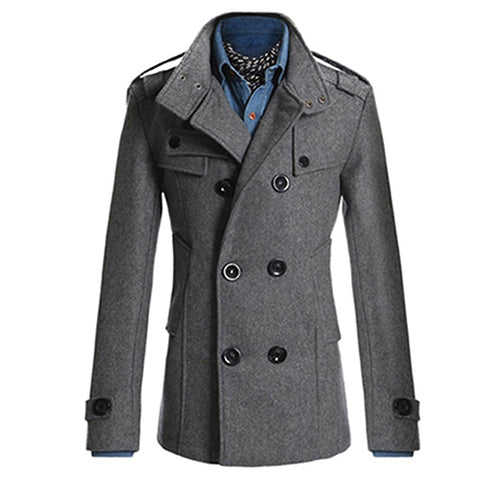 New Fashion Men Double Breasted Winter Slim Warm Jacket Stylish Trench Coat Outwear