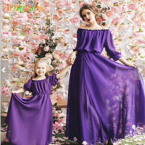 Mommy and Me Clothes Mother Daughter Wedding Dresses Clothes Summer Mom and Daughter Princess Long Dress Family Matching Outfit