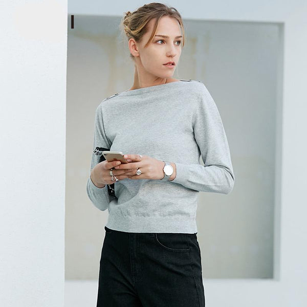 Casual Women Sweater Solid Slash Neck Knit Female Sweaters