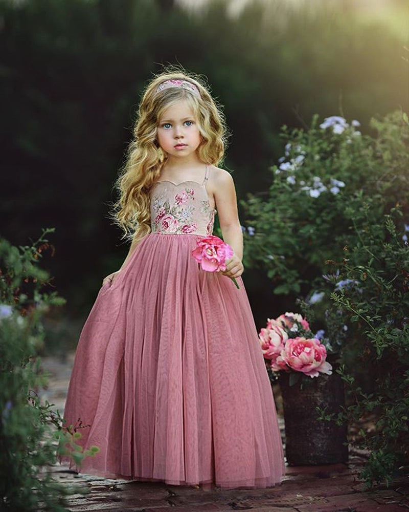 New Style Princess Kids Girl Pink Lace Flower Strappy Dress Maxi Long Princess Party Children Summer Ball Gown Formal Dress