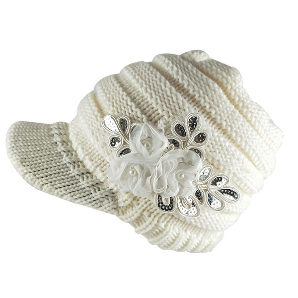 Women Winter Knit Hat with Brim Shabby Chiffon Roses Warm Striped Newsboy Cap Black White