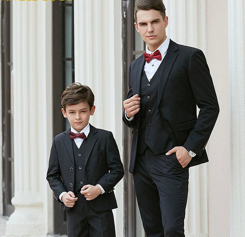 High quality Kids Wedding Blazer Suit Brand Boys Formal Suit Enfant Mariage Father Son Matching Clothes Costume Homme