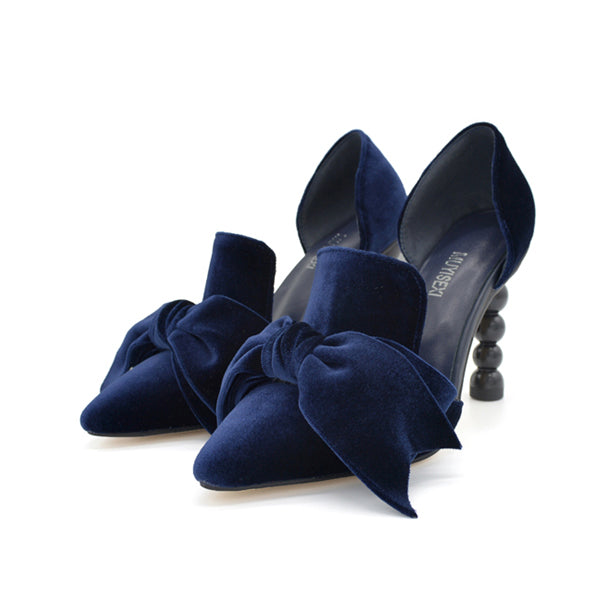 Women Shoes High Heel Velvet Bow Pointed Toe D'Orsay Two-Piece Strange Pearl Heel Stiletto Party Shoes Women Pumps MUYISEXI