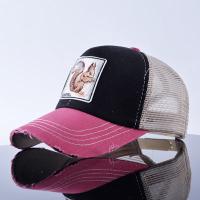 Cute animal squirrel Trucker hat for men Summer Baseball Caps Women Snapback Bone Visor Breathable Hats for Adults TMWLSS