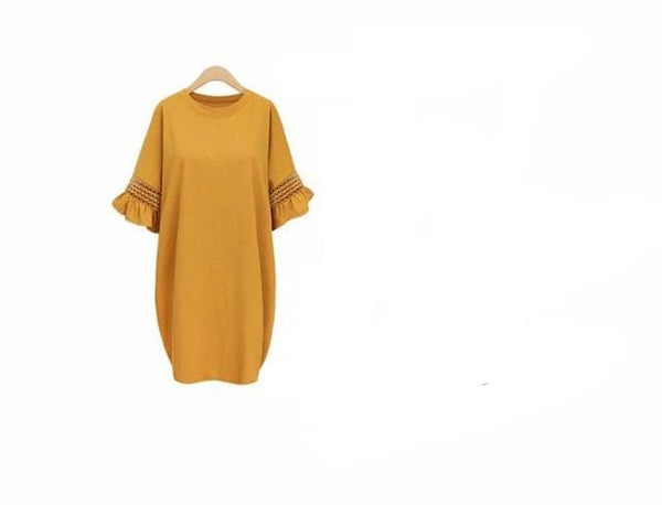 Women Loose Hollow Out Flare Sleeves Summer Dress Mesh Cotton Casual Wear Big Plus Size Vintage Oversized Dress