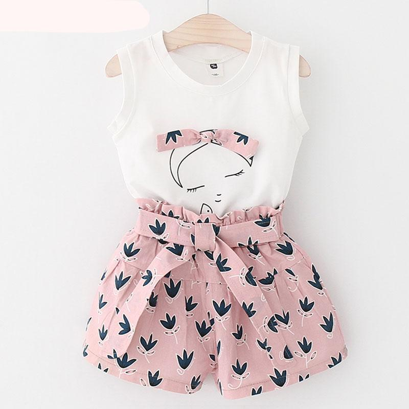 Kids Clothes 2018 Summer New Girls Clothing Sets kids clothes Sleeveless T-shirt+Print Pants 2Pcs Suit for Girls Clothes