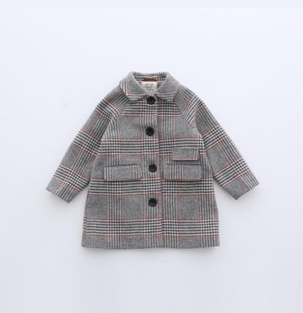 Kids girl overcoat Winter new fashion Houndstooth wool coat for girls Teens autumn jacket warm long outerwear Children Windproof