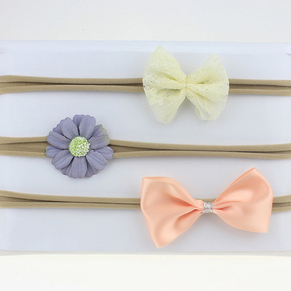 3 Pcs/Set Newborn Mix Style Pearl Rhinestone Flower Headband Child Girls Hair Bands Headwear Photography Props Hair Accessories