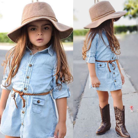 Denim Dress For Girl Toddler Princess Long Sleeve Dress Kids Baby Party Wedding Pageant Denim Dresses 2-7T