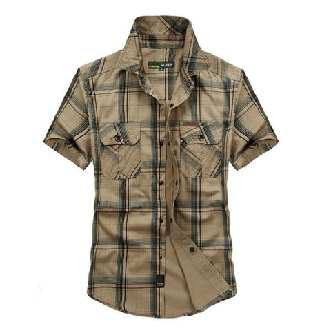 Cotton Chemise Homme Original Brand Clothing Men Chemise Homme Plaid Cargo military