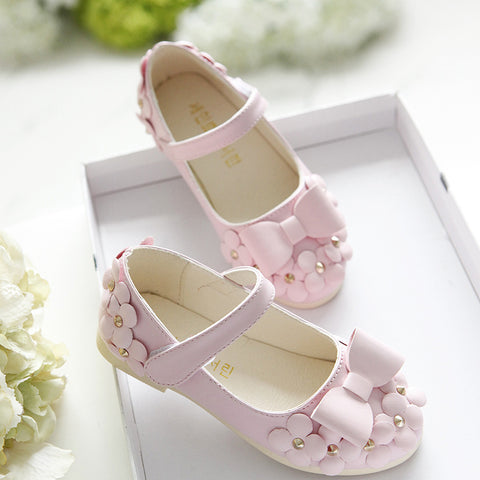 New Spring Hot Sale Floral Girls Shoes Princess Single Shoes For Girl Kids Children Fashion PU Sneakers With Flowers