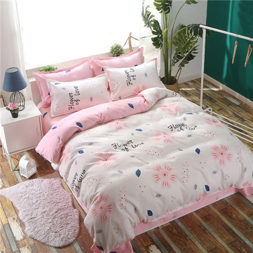 AB side bedding set heart bed linens flat sheet summer style bedclothes adult home bed set sheet&pillowcase duvet cover set New