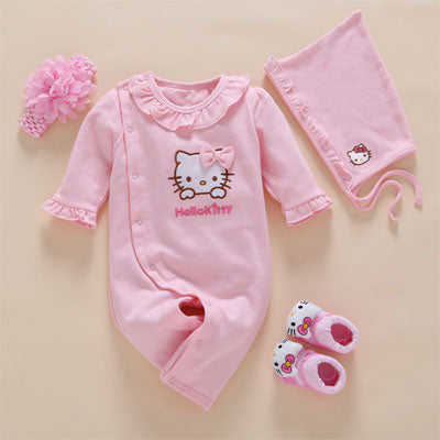 2845b101623d 4pcs Set New Born Baby Girl Clothes Romper Cotton Cute Embroidery ...