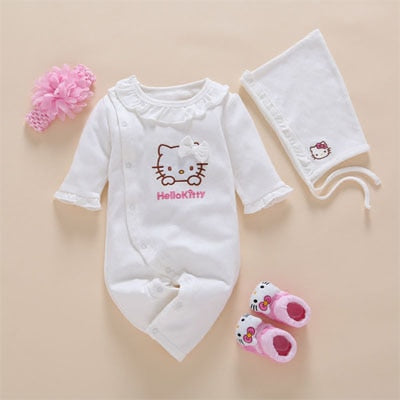 3d933ae83 4pcs Set New Born Baby Girl Clothes Romper Cotton Cute Embroidery ...
