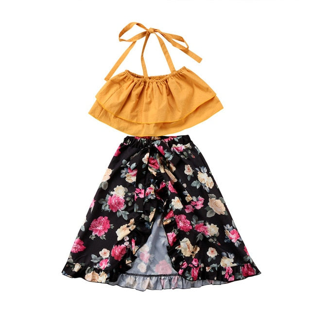 Lovely Baby Girls Summer Fashion Clothes Sets Halter Crop Tops Flower  Printing Long Skirts Casual Loose Fashion Outfits Sets