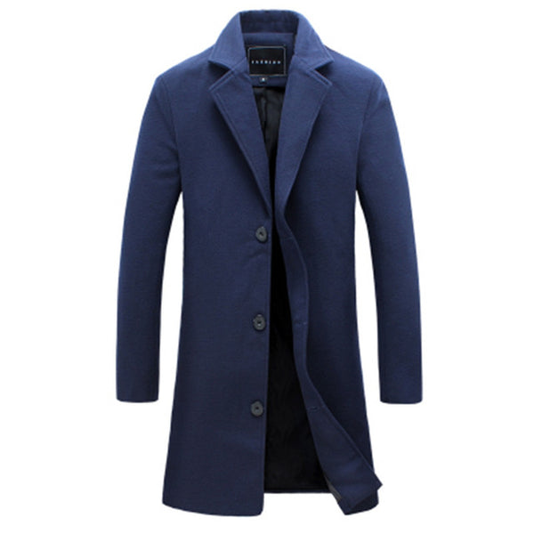 Winter New Fashion Men Solid Color Single Breasted Trench Coat / Men Casual Slim Long Woolen Cloth Coat Large Size 5XL