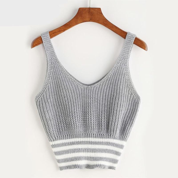 Marled Knit Double V Neck Striped Hem Tank Top Grey Patchwork Casual Crop Top Vest Workout Top Vest For Women