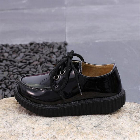 Spring Autumn Children leather shoes Genuien leateher Lace-Up Boys Girls Flats Loafers Student Dance shoes 018