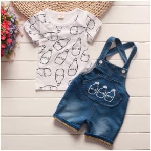 summer baby boys clothing sets 2PCS cotton carton short sleeved+strap pants tracksuit clothes casual clothes set summer
