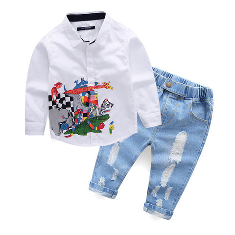 Children's Boys Clothing Set Animal Pattern White T Shirt+Jeans Clothes Suit Boys Kids Brand Gentleman Suit Party Shirt Costume