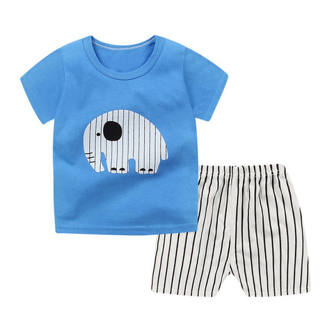 Kids Clothing Set Baby Boy Combed Cotton T Shirt+Short Pants 2Pcs Children Set for Summer Boy Cartoon Clothes Fits 2-6T JTX02