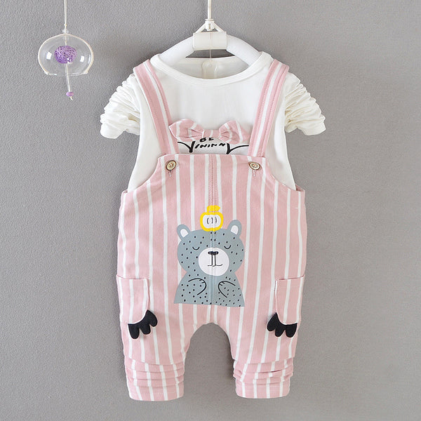 Autumn baby girls clothing set t-shirt + overalls 2 pieces outfits children spring wear kids 0-2 years cotton