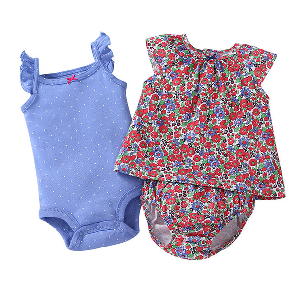2018 Broadcloth Unisex Sales Limited Fashion Cotton Belt, Boy, Baby Shirt + Pants Newborn Clothes, 3 Sets 0-24female Bab Summer