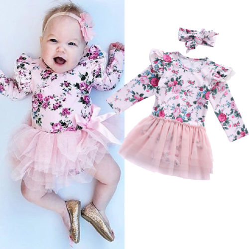 62c8846dda Lovely Newborn baby girl clothes Pink Lace Flower Long Sleeve Bodysuit+Headband  0-24M ...