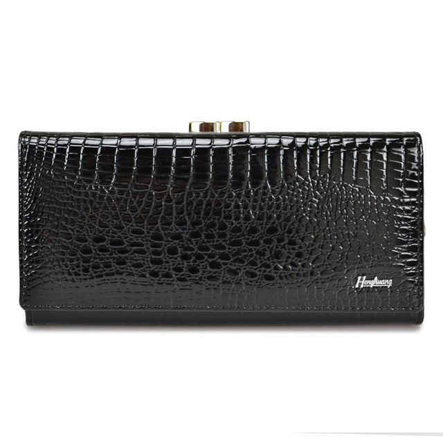 Genuine Leather Women Wallets Alligator Long Hasp Zipper Wallet Ladies Clutch Bag Purse 2018 New  Female Luxury Purses