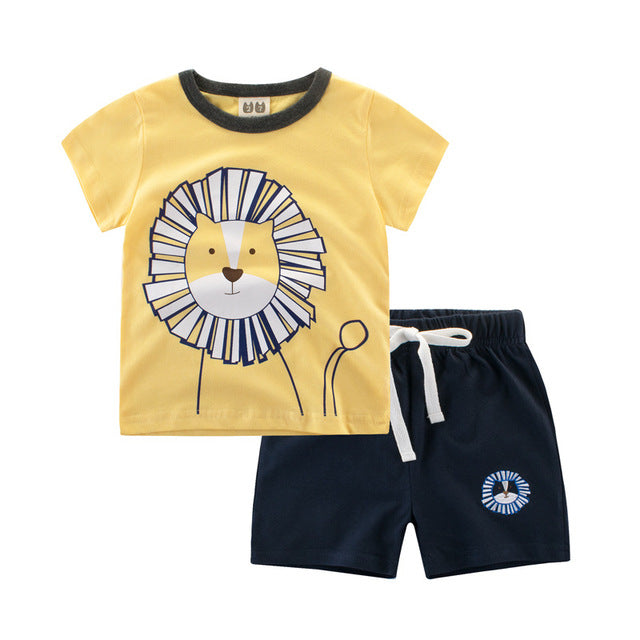 45ec087ad08d New Boys Clothing Set Short Sleeve Cotton Baby T-Shirts and pants Kids