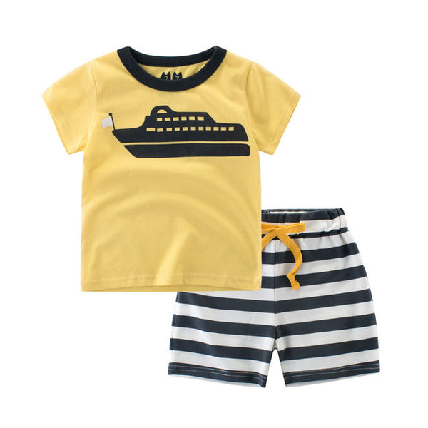 New Boys Clothing Set Short Sleeve Cotton Baby T-Shirts and pants Kids 2-8y Children Baby Boy Girl 2pcs Kids Clothes Summer