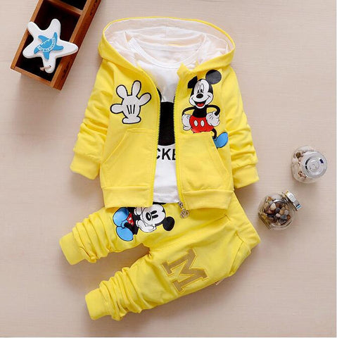 Fast shipping, new autumn boys and girls clothes sets,baby cartoon Mickey coat jacket pants outfit set T-shirt 3 piece suit