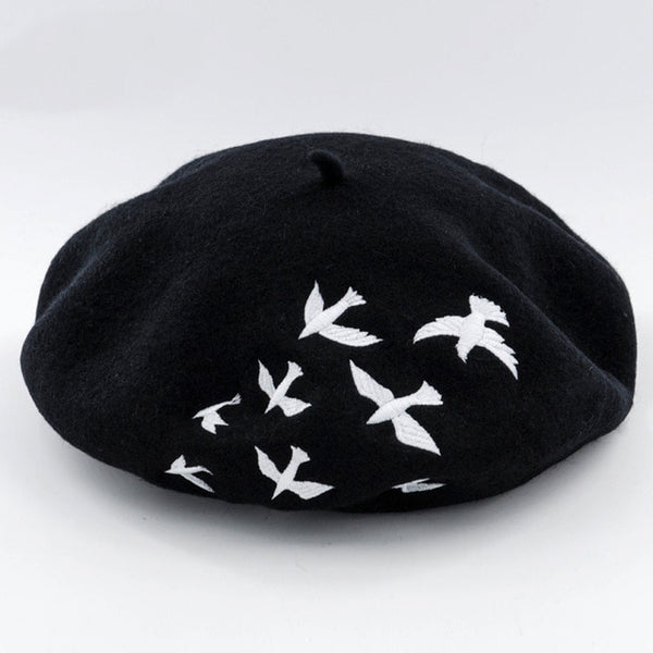 Winter hats for women Berets Knitted wool beret mujer Embroidered Swallows Pattern Berets Hats Baret Warm Caps Boina Feminina