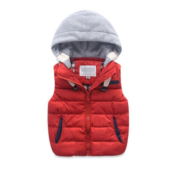 Children jacket wholesale high quality baby clothing boys hooded vest baby cotton-padded thickening thermal waistcoat for 1-9 Y