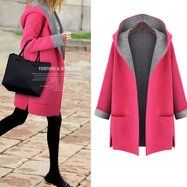 New Women Casual Basic Autumn Winter Hoodies Sweatshirts Top Coat Hooded Long sleeve pocket Plus Size