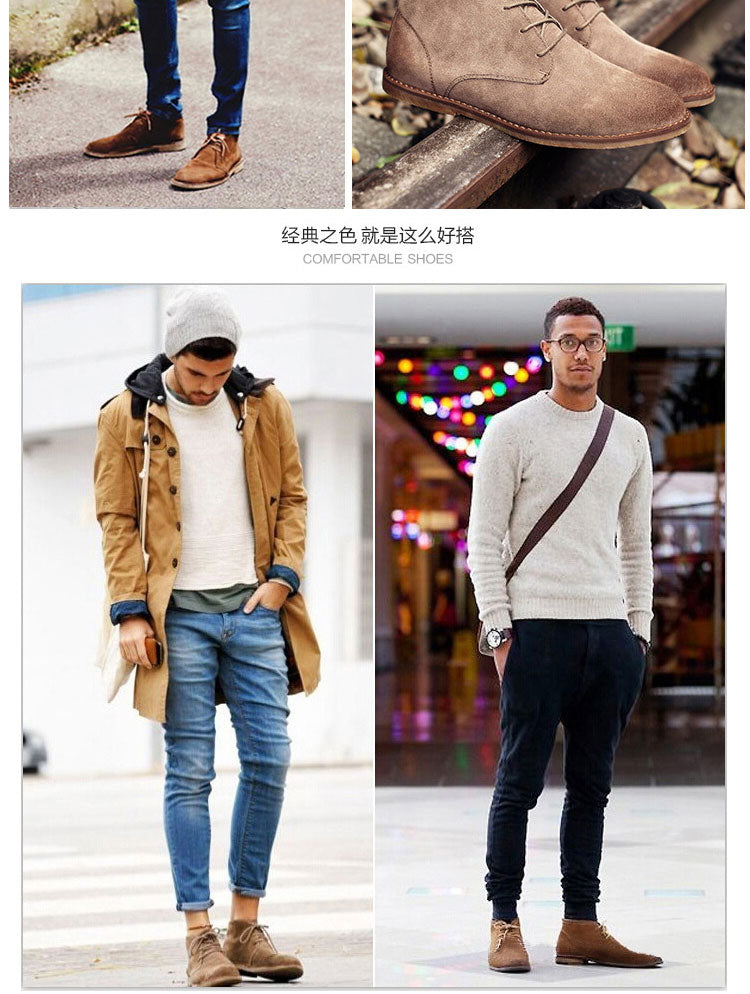 Classic genuine leather tooling boots crazy horse leather martin boots men fashion desert boots popular high top leather shoes