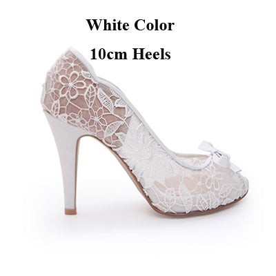 36827f1251c ... Fiancee Engagement Party Shoes Peep Toe Lace Wedding Shoes Mother of  the Bride Shoes White Color ...